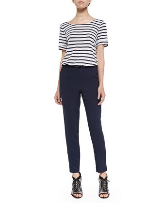 Short-Sleeve Jumpsuit W/ Striped Top