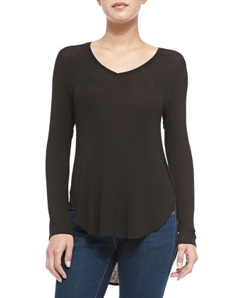 Long-Sleeve Draped Luxe Top