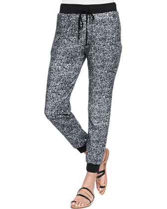 Long-Sleeve Tee W/ Chest Pocket & Landers Cropped Printed Fleece Sweatpants
