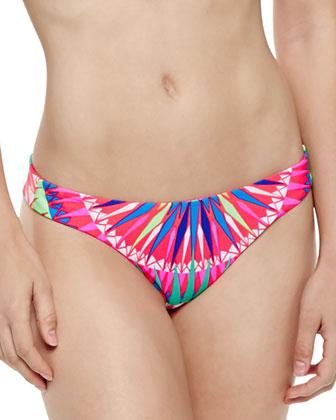 Printed Strappy Flutter Bikini Top & Reversible Low-Rise Swim Bottom