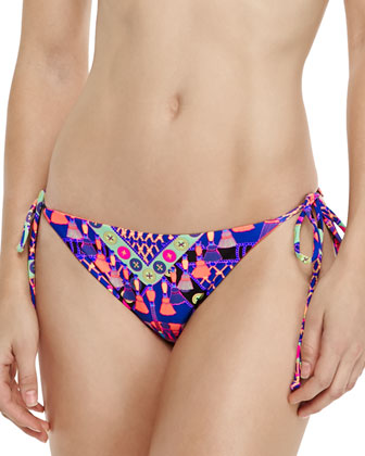 Classic Printed Bustier Swim Top & Reversible Tie-Side Swim Bottom