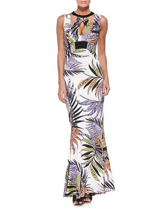 Paradise Sunrise-Print Cutout Gown
