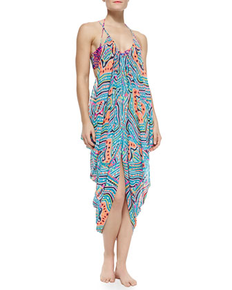 Draped Printed Spaghetti-Strap Dress