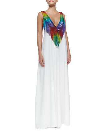 Sleeveless Maxi Dress W/ Rainbow Fringe