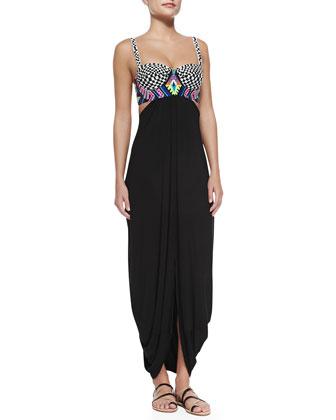 Mixed-Print/Solid Jersey Maxi Dress