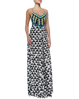 Spaghetti-Strap Embellished Maxi Dress