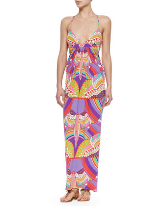 Printed Cutout Maxi Coverup