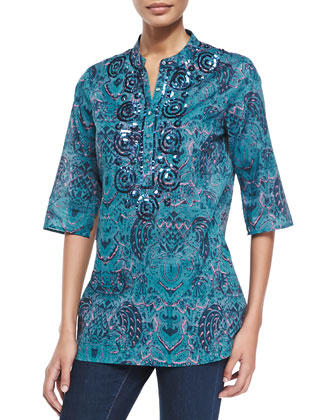 Jasmine Batik-Print 3/4-Sleeve Coverup Tunic