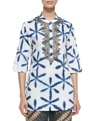 Jasmine Tie-Dye Bead-Neck Tunic Coverup