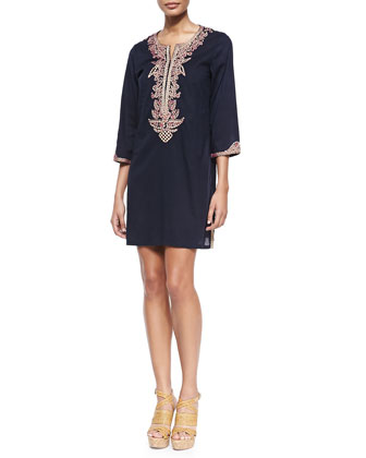Sophie Embroidered Cotton Tunic/Dress, Navy