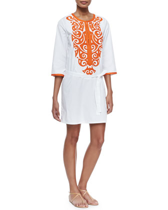 Sophie Embroidered Cotton Tunic/Dress, Clean White