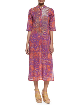 Thandie Beaded Batik-Print Caftan Coverup Dress