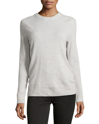 Boyfriend Cashmere Pullover, Light Gray