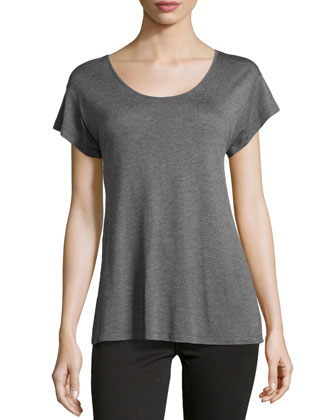 Scoop-Neck Zip-Back Blouse, Heather Gray