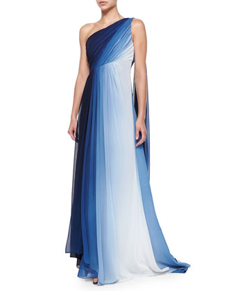 One-Shoulder Ombre Draped Gown, Navy/White