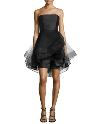 Strapless Cocktail Dress with Tulle Skirt