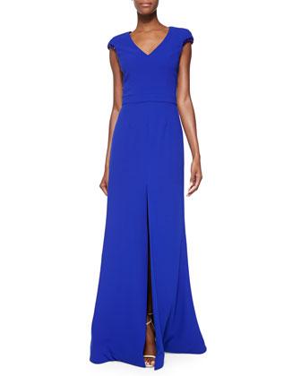 Dapper Gown W/ Bead-Trim Sleeves