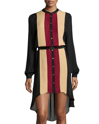 Striped Georgette Button-Front High-Low Dress