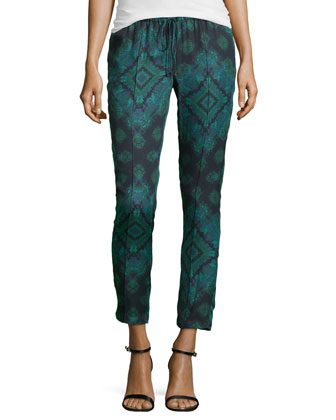 Printed Silk Drawstring Pants