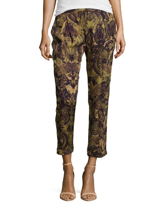 Paisley Printed Silk Pants