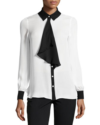 Two-Tone Ruffle-Front Blouse