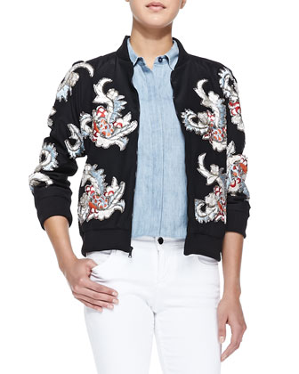 Felish Embellished Satin Jacket