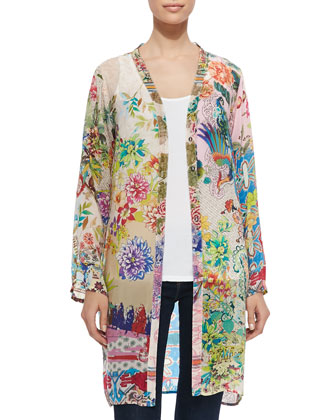 Ambiance Floral-Print Georgette Cardigan, Women's