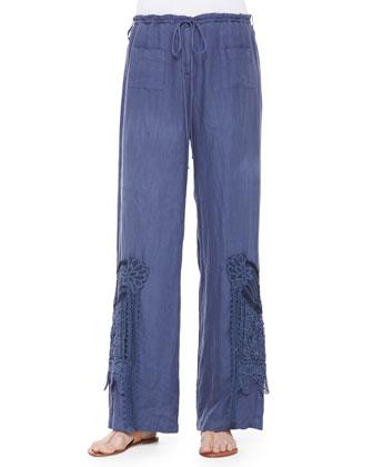 Short-Sleeve Mosaic-Print Tunic & Linen Wide-Leg Crochet Pants, Women's