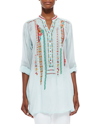 Leanna Embroidered Tunic & Gail Paisley-Print Silk Scarf, Women's