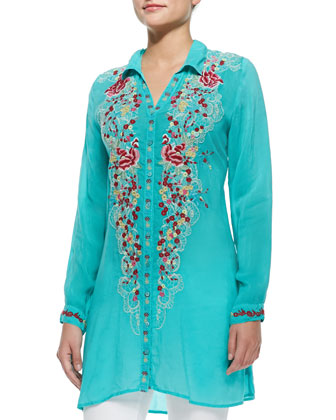 Petals Button-Front Tunic, Women's