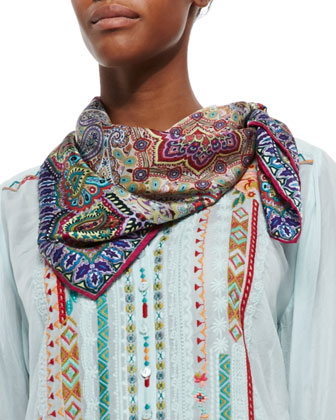 Leanna Embroidered Tunic & Gail Paisley-Print Silk Scarf