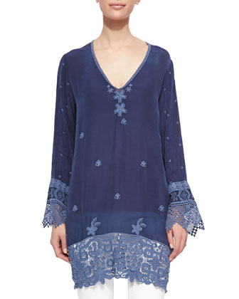 Lacey V-Neck Long Tunic & Pepin Printed Silk Scarf