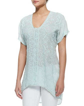 Short-Sleeve Long Georgette Blouse, Women's