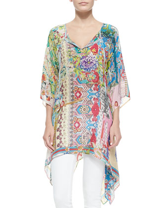 Dreamy Tie-Neck Printed Tunic
