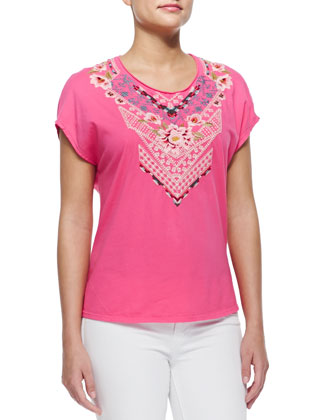 Contessa Embroidered Poncho Tee, Women's