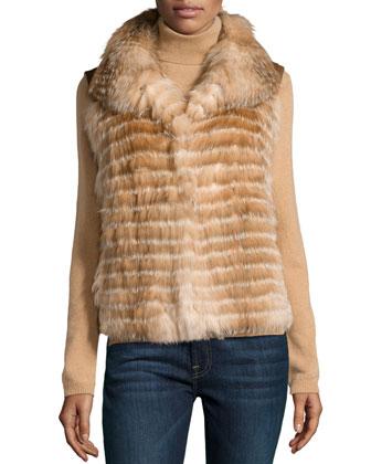 Fur Front & Leather Back Vest