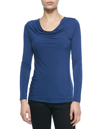 Long-Sleeve Draped-Neck Top