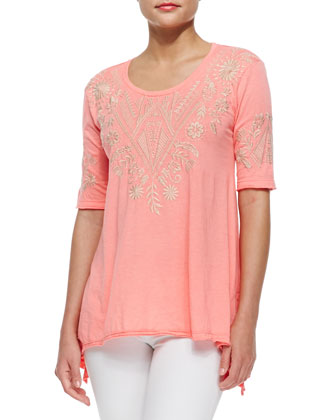 Mariko Embroidered Jersey Tee, Women's