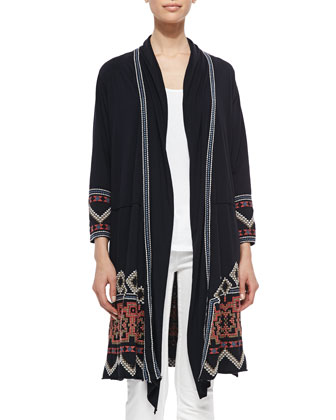 Stevie 3/4-Sleeve Draped Cardigan, Scoop-Neck Cotton Tank & Kobi Printed ...