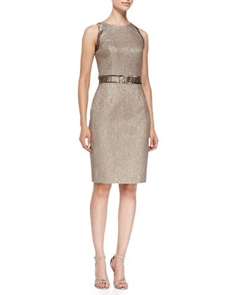 3/4-Sleeve Metallic Jacquard Bolero Jacket & Sleeveless Belt-Inset Sheath ...