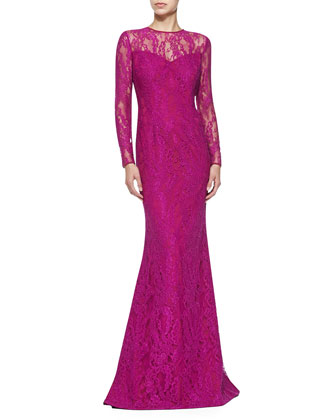 Long-Sleeve Illusion Lace Gown