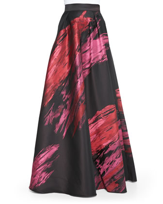 Sleeveless Crop Top & Paintbrush Stroke Ball Skirt