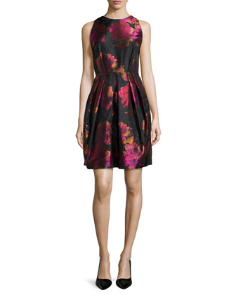 Floral-Print Flared Cocktail Dress