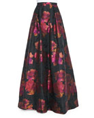Floral-Print Ball Skirt, Black/Fuchsia