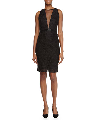 Sleeveless Mesh-Inset Sequined Cocktail Dress