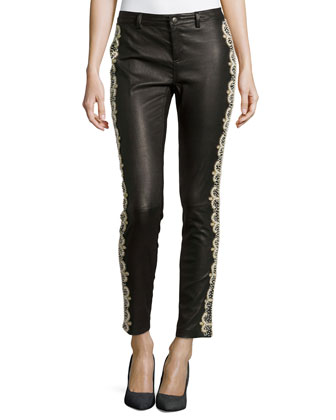 Leather Pearly Bead Embellished Pants