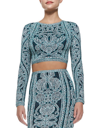 Mackenzie Tapestry-Print Crop Top