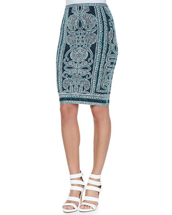 Mackenzie Tapestry-Print Crop Top & Tempes Pencil Skirt