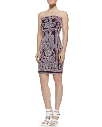 Vivien Strapless Tapestry-Print Cocktail Dress