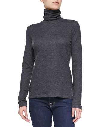 Double-Face Long-Sleeve Turtleneck